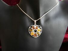 Bernstein Ketten Anhänger Herz silber filigran Griechenland Amber 4 x 3 cm