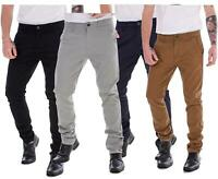 Mens Boys Slim Fit Cotton Chinos Trousers Casual Wear Fly Zip Regular Tan Pants