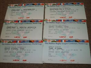 1995 RUGBY LEAGUE WORLD CUP MATCH TICKET COLLECTION X 6 INCLUDES FINAL ENGLAND