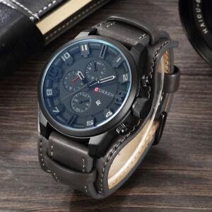 CURREN Mens Army Military Quartz Leather Strap Watch Boys Sports Wrist Watches