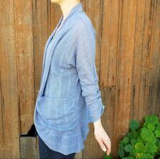 ALBERTO MAKALI size XL light blue textured knit open cardigan