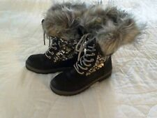 Justice Girls Black Snow Boots Winter Faux Fur Black/Silver Sequins Girls 2M