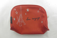 Agnes B Paris Eiffel Tower Red Cosmetic Case Zip Pouch