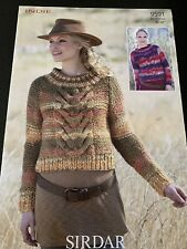 """Sirdar Indie Ladies Cable Knit Sweater Knitting Pattern Sizes 32-42"""" 9591"""