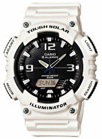 Casio Solar Analog/Digital Watch, White Resin, 100 Meter, 5 Alarms, AQS810WC-7AV