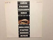 DISQUE 33T CARLOS D'ALESSIO MARGUERITE DURAS INDIA SONG ET AUTRES MUSIQUES FILMS