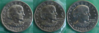 1980 P and D and S Susan B Anthony Dollar BU Coins US Mint Cellos Three SBA $1