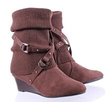 "Brown Faux Suede Buckles Zipper Open Womens Ankle Boots 2"" Wedge Heels Size 7.5"