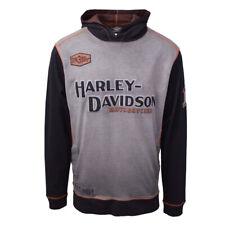 Harley-Davidson Hombre Gris Dos Tonos Bloque De Hierro L/S Jersey Sudadera Con Capucha (S03)
