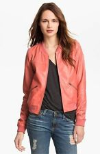 TROUVE PERFORATED LEATHER BOMBER CORAL COLOR JACKET/COAT sz M