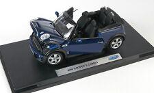 BLITZ VERSAND Mini Cooper S Cabrio dunkel blau Welly Modell Auto 1:18 NEU & OVP