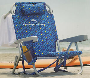 Tommy Bahama Backpack Beach Folding Deck Reclining Chair Cooler Pocket Blue NEW