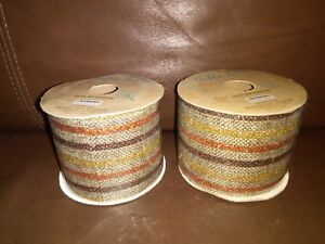 2.5in Burlap  Ribbon with Multi- color Lines Design 6 yards long