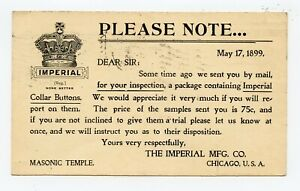 ILLUSTRATED UX 1899 POSTAL CARD IMPERIAL COLLAR BUTTONS CHICAGO FLAG CANCEL