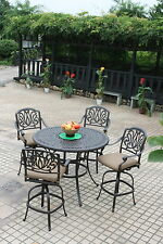"Bar height patio furniture 48"" round table 4 swivel bar stools cast aluminum"