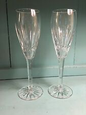 Pair (2) Waterford Irish Crystal BALLYMORE Pattern Champagne Flutes Flute