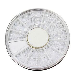 480 Halbperlen WEISS im Rondell. 5 Größen 1,5-3 mm ( RNAP-33)