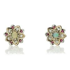 NEW CLOGAU GOLD & SILVER LOTUS OPAL & TOPAZ EARRINGS Ref: 3SLTUSE RRP £239