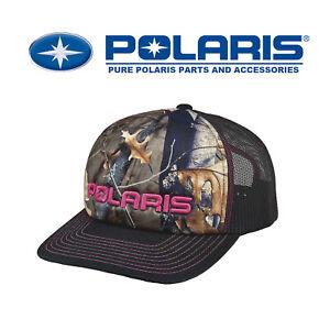 Polaris Women's Camo Trucker Hat Cap - Camo/Pink - SnapBack - ATV SXS RZR