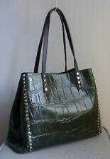 DAMEN Schultertasche Tasche Handtasche Shopper Grün Kroko Croco Leder Italy