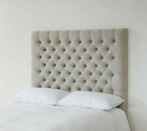 BEAUTI PEARLS 36 inchCHENILLE Headboard with MATCHING FABRIC BUTTONS 3FT, 4FT6,