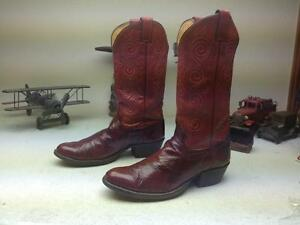 DISTRESSED VINTAGE JUSTIN RED EEL LEATHER WESTWERN COWBOY DANCE BOOTS SIZE 8.5 D
