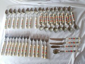 Lot 41 Pc Stainless Flatware Colorful Plastic Handle Camping Picnic Fishing Trip