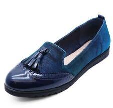 Zapatos planos de mujer mocasines azules sin marca