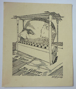 """Exlibris, Bookplate """"Jos. Futterer"""" Jugendstil, signiert"""