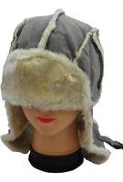 Moleskin Unisex Winter Trapper Hat with Fur in Russian Style