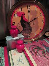 RED ROOSTER ~ KITCHEN SET~ CLOCK ~ TAPESTRY RUNNER & SALT & PEPPER SHAKERS