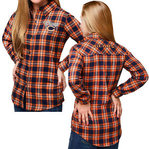 Forever Collectibles NFL Women's Chicago Bears Check Long Sleeve Flannel Shirt