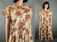 80s Secretary Dress Sz S Vintage Sheer Fuchsia Dark Pink Chiffon Crepe Swiss Dot Free US Shipping
