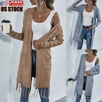 Women's Knitted Sweater Open Front Pocket Coat Tassel Long Cardigan Coat Jacket