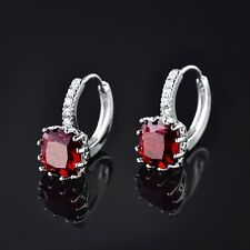 18K White Gold Filled New Look Princess Red Garnet Crystal Lady Hoop Earrings