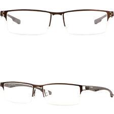 319fa47aab Half Rimless Men s Womens Rectangular Titanium Frames Glasses Photochromic  Brown