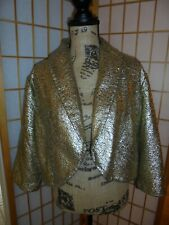 NEW ❤CHICO'S❤ HIGH GLAM GOLD CRACKLE FOIL JACKET/BOLERO SZ 3 or 18-20 rrp.$109
