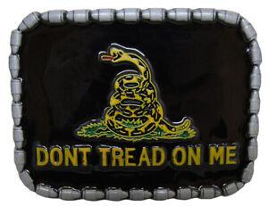 Gadsden Don't Tread On Me Yellow Snake Black Belt Buckle