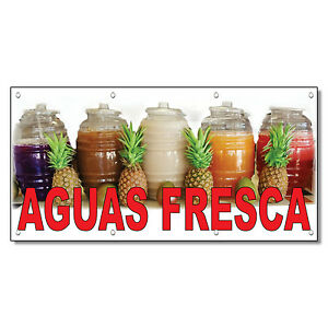 Aguas Fresca Red Food Bar Restaurant Food Truck Vinyl Banner Sign With Grommets