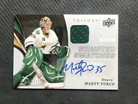 2008-09 UD TRILOGY MARTY TURCO SCRIPTED SWATCHES JERSEY AUTO #ed 57/100