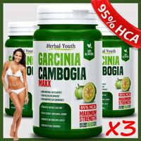 3 x 3000mg GARCINIA CAMBOGIA MAXX 95%HCA Weight Loss 180 EXTRACT Veggie Capsules