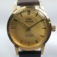 Vintage Hmt Sona Mechanical Hand Winding Movement Mens Analog Wrist Watch D39