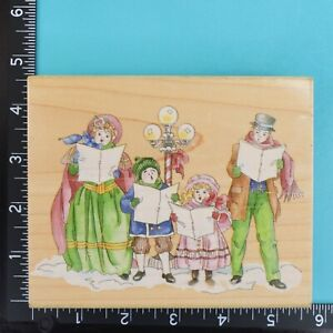 Victorian Carolers 80062 Christmas Winter Stamps Happen Wood Mount Rubber Stamp