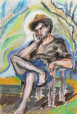 Vintage expressionist pastel painting portrait
