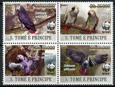 More details for sao tome & principe wwf stamps 2020 mnh grey parrots birds gold ovpt 4v block