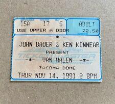 Van Halen Concert Ticket Stub 11/14/1991 Tacoma Dome Washington Sammy Hagar