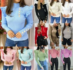 Women's Ladies Fine Ribbed Gold Button Frill Mock Neck Fashion Party Jumper Top