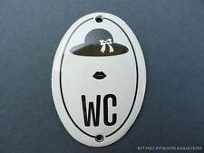SMALL ANTIQUE STYLE ENAMEL LADIES HAT & LIPS WC DOOR SIGN TOILET DOOR PLAQUE