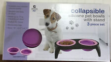 Grand Innovations Pet: 3-Pc Collapsible Silicone Pet Bowl with Stand (Pink)