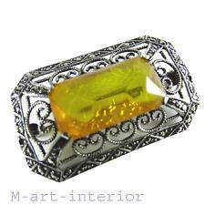 Art Deco Bernstein Silber Brosche Markasiten silver amber marcasite brooch 1920